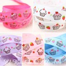 Cinta gros-grain estampada cupcakes. 16mm.
