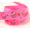 Cinta gros-grain estampada cupcakes. 9mm.