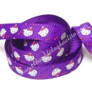 Cinta gros-grain estampada Hello Kitty violeta. 14mm.