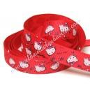 Cinta gros-grain estampada Hello Kitty rojo. 14mm.